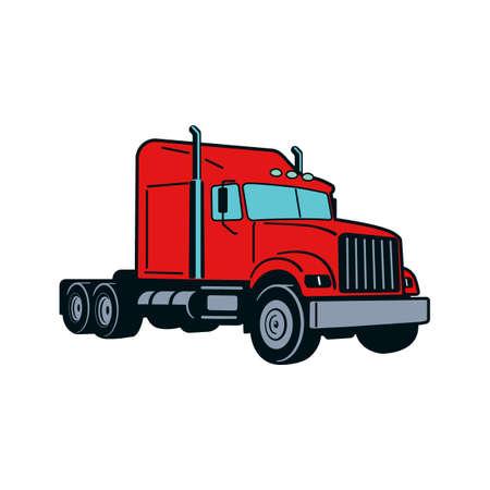 Semi Truck. Vector Outline Lorry. Freight transportation. Modern flat vector illustration. American truck. Иллюстрация