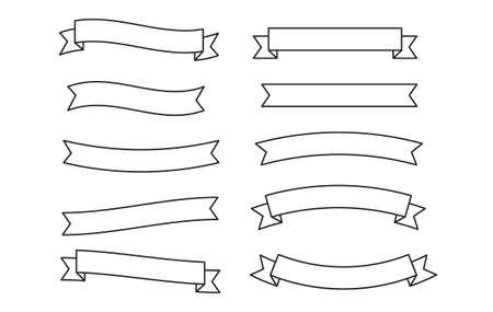 Set Banners, Ribbons, Label, Scroll. Design Logo Template. Simple ribbon black contour symbol isolated on white. Banners, Ribbons, Label, Scroll. Banners, Ribbons, Label, Scroll. Иллюстрация