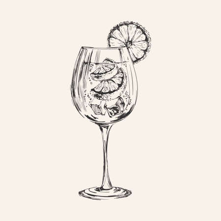 Hand Drawn Summer Cocktail Drink Vector Illustration