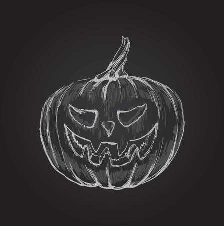 Halloween Pumpkin Hand Drawing Vector Illustration.