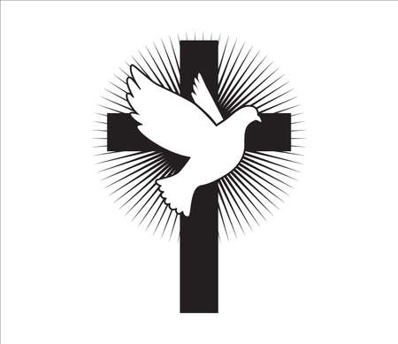 Dove flying with a Symbol of Religion. Dove Of Peace.