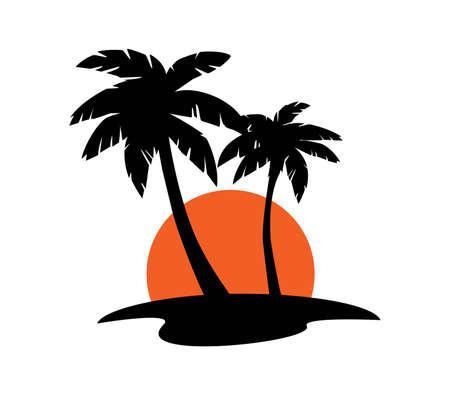 Summer Beach Palm Tree. Tropical island. Vacation.