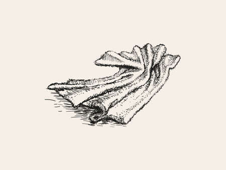 Crumpled towel lies. Hand Drawn Vector Illustration