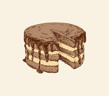 Cak Hand Drawn Vector Sketch Illustration Sweet Dessert