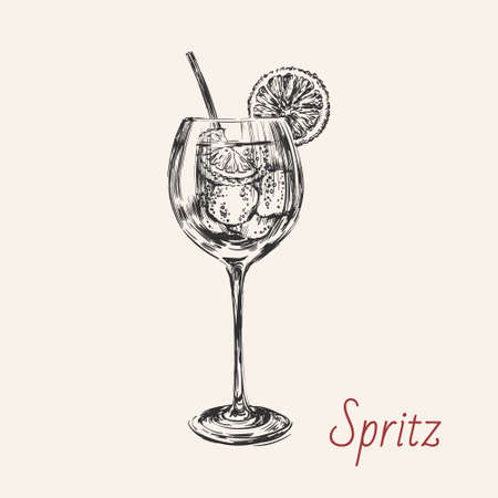 Spritz Hand Drawn Summer Cocktail Drink Vector Illustration.