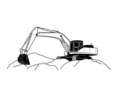 Crawler Excavator Modern Flat Vector Illustration Иллюстрация