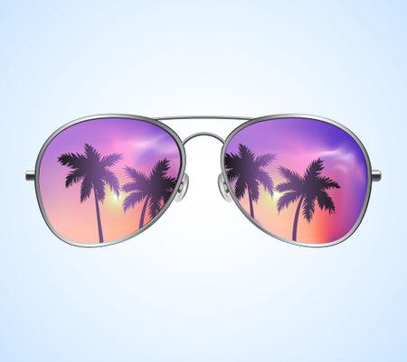 Aviator Sunglasses with Palms Reflection Vector illustration Background. Pink sunset Иллюстрация