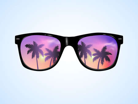 Sunglasses with Palms Reflection Vector illustration Background. Pink sunset