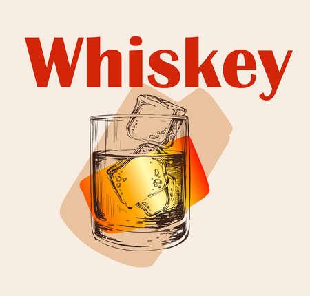 Whiskey Glass Hand Drawn Drink Illustration Whiskey Glass Hand Drawn Drink Illustration Иллюстрация
