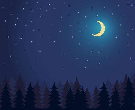 Night Starry Sky Moon. Forest landscape. Woodland Scenery. Stars