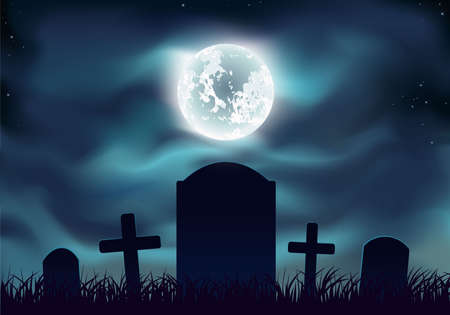 Graveyard at night. Sinister. Memorial park or crypts graveyard. Halloween landscape with gravestones.