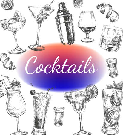 Cocktails and Alcohol Drinks Vector Hand Drawn Illustration Poster Иллюстрация