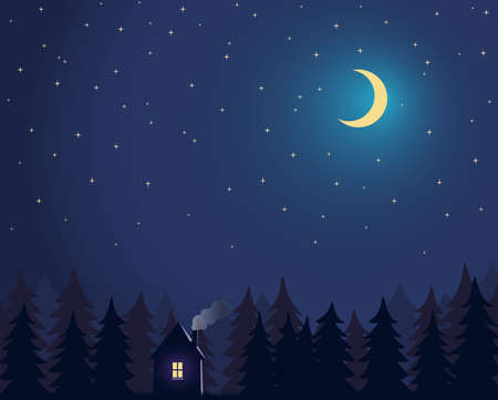 House and tree and night sky with stars and moon