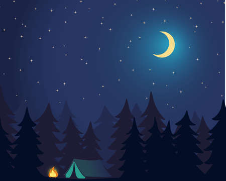 Camp Outdoor. Campground in Forest. Night sky with stars and moon. Vector Illustration