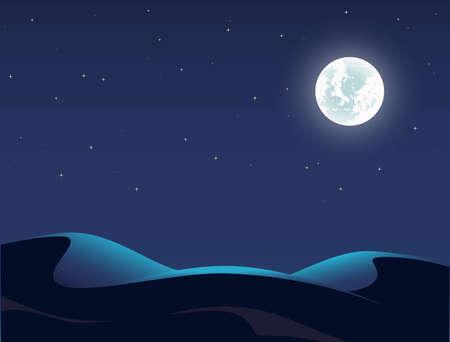 Night Desert Landscape Illustration, Starry Sky, Full Moon, Dune Иллюстрация