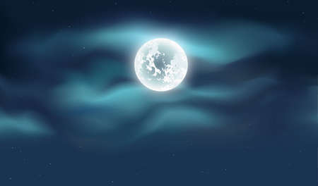 Blue dark night sky with full moon and lot of shiny stars background