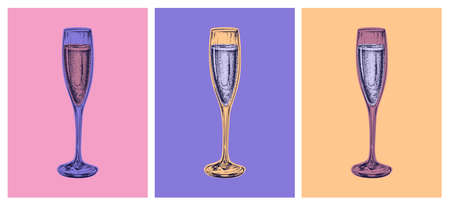 Champagne Glass Hand Drawing Vector Illustration Alcoholic Drink. Pop Art Style
