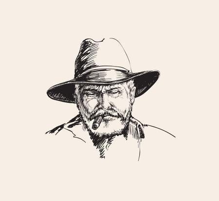 Portrait Cowboy, farmer. rancher . Hand drawn sketch vector illustration