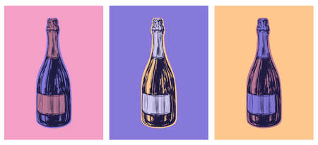 Champagne Bottle Hand Drawing Vector Illustration Alcoholic Drink. Pop Art Style. Party