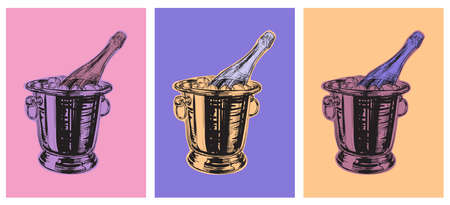 Champagne Bottle Bucket Hand Drawing Vector Illustration Alcoholic Drink. Pop Art Style. Party
