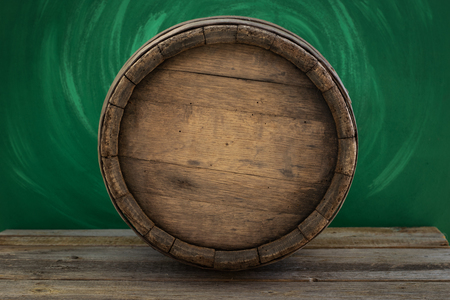 Background of Barrel and Worn Old Table of Wood Stock Photo