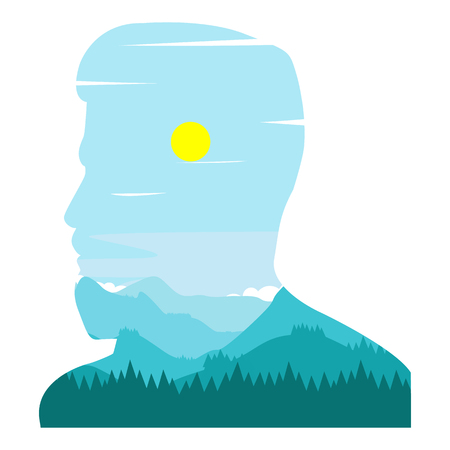 Double exposure of the face of a bearded man in profile with a hairdo and a landscape of mountains of a turquoise hue