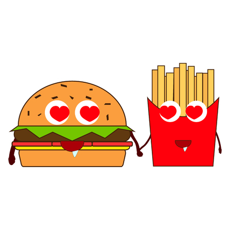 French fries together with a hamburger are held together by the hands and with loving eyes they look at each other. 일러스트