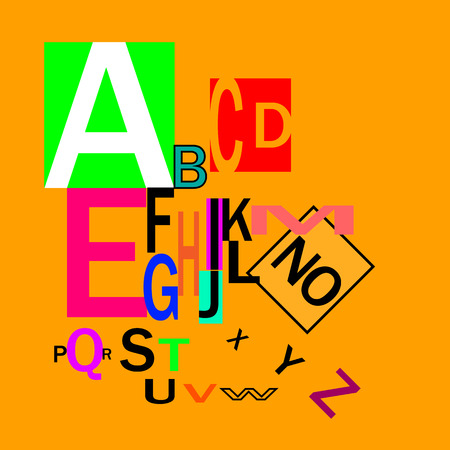 Typography for headings, posters, logos, etc. Decorative English alphabet. Inclined letters of different size and color on an orange background