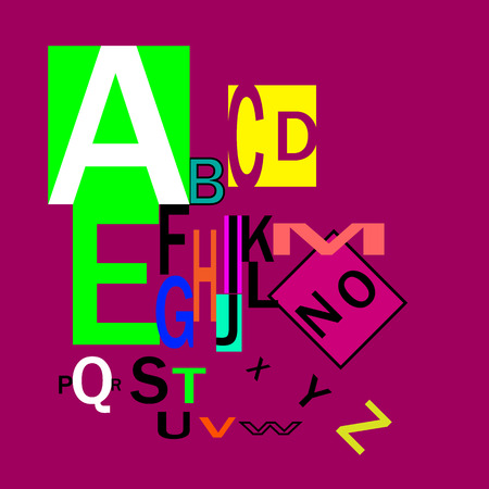 Typography for headings, posters, logos, etc. Decorative English alphabet. Inclined letters with different size and color