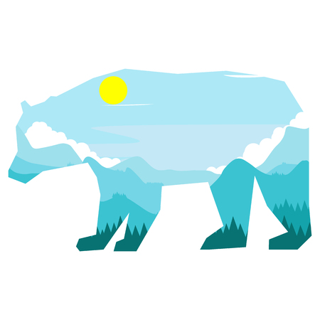 A double exposition, on which there is a bear, in which a landscape of mountains with blue shades Illustration