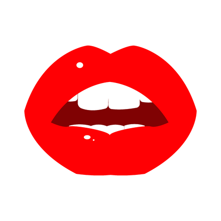 The slightly opened female lips of a bright red color with a reflection and teeth