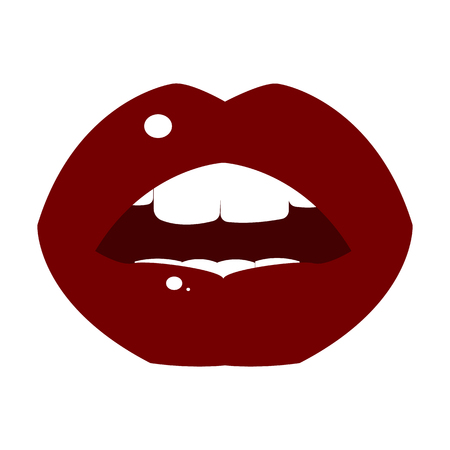 The slightly opened female lips of a dark red color with a reflection and teeth