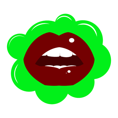 Lips dark red with a glint of light on a green background of bubbles with a glint of light