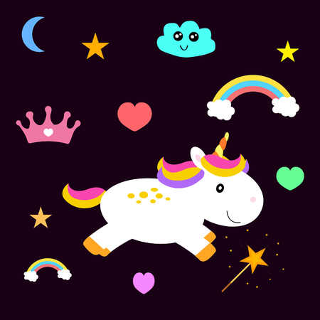 Illustration for children with: ponies, stars, hearts, magic wand, clouds, rainbow and crown on a dark purple background Illustration