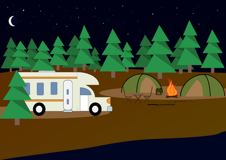 Camp. Night camp, in which there are: two tents, dilapidated fire, weapons for hunting, table, chairs, stars, car for traveling, river, moon, backpack