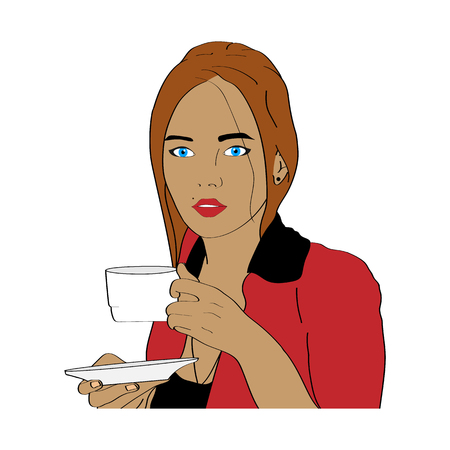 Beautiful blue-eyed girl with chestnut hair and holding a mug and a plate Çizim