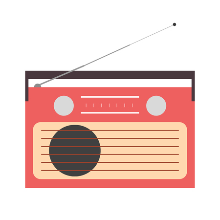 Old radio with antenna in retro style