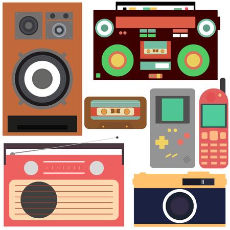 Retro collection: mobile phone, radio, tetris, speaker, tape recorder, cassette, camera Illustration