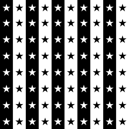 Abstract illustration with stars. Black and white stripes on which there are black and white stars