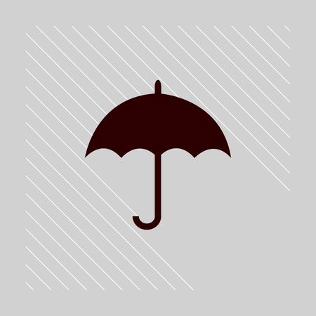umbrella Icon with rain stripes vector flat design