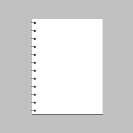La page du cahier est ouverte sur un fond blanc. Un cahier à spirale vide Vecteurs