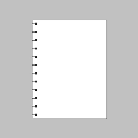 The notebook page is open on a white background. An empty spiral notebook Illustration