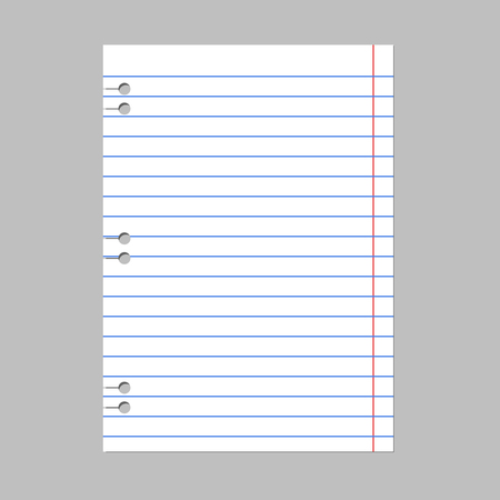 The notebook page is open on a white background. An empty spiral notebook with lines for writing