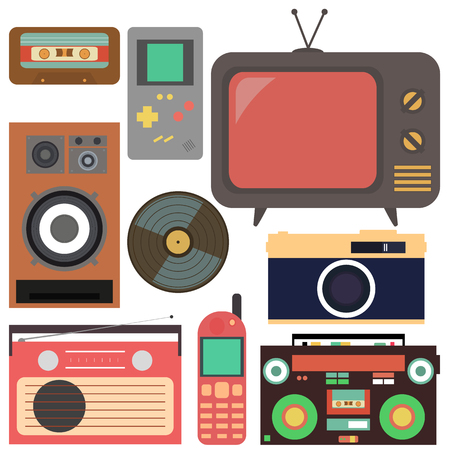 Retro collection.Flat design, Retro technique. The collection includes: a TV, a camera, a mobile phone, a tetris, a speaker, a tape recorder, a cassette and a radio. Ilustrace