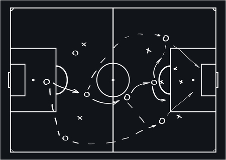 Soccer or football game strategy plan. Vector illustration. Sport infographics element. 일러스트