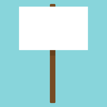 Blank poster isolated on a wooden stick. Vector background. For demonstrations. Flat design