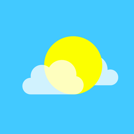 Vector Icons With Sun And Transparent Cloud Fashionable Vector