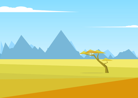 African vector landscape with mountains and a tree standing in the middle of the savannah and mountains in the distance. Acacia and in the field of savanna illustration. The nature of Africa. Illusztráció