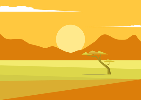 African vector landscape with mountains and a tree standing in the middle of the savannah and mountains in the distance. Acacia and in the field of savanna illustration. The nature of Africa. Illustration