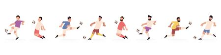 Set of soccer players. Active game of European football. Flat style. Vector illustration Stock Illustratie